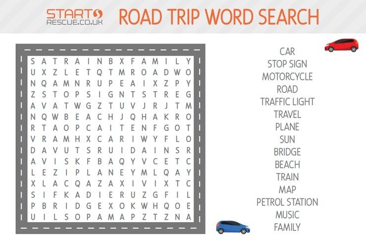 how many of these words can you spot in the jumble of letters and how many of these things have you seen on your road trip this fun word search is sure